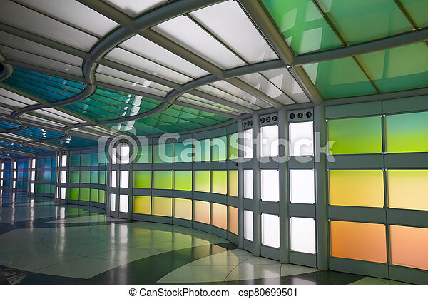 Underground passage in the Chicago O'Hare airport - csp80699501