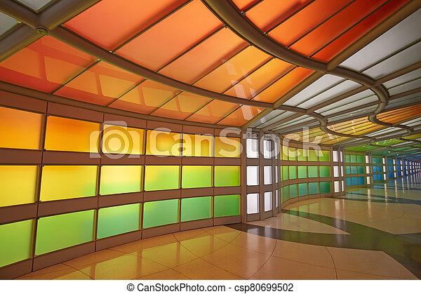 Underground passage in the Chicago O'Hare airport - csp80699502