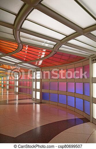 Underground passage in the Chicago O'Hare airport - csp80699507