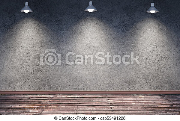 Underground Room With Hanging Metal Lamps Interior Room With Dirty