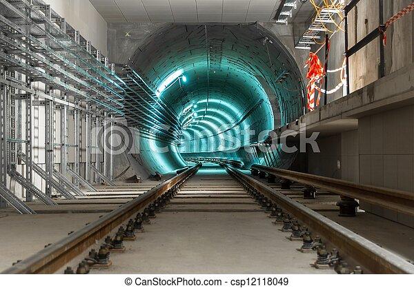 Underground tunnel with blue lights - csp12118049