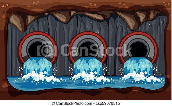 Underground Water Sewer Pipe System - csp59078515