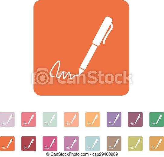 El icono de la firma. Pen y subordinado, sub-escritura, símbolo ratificado. Plano - csp29400989