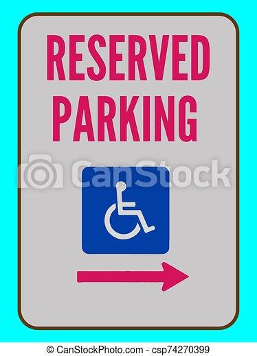 underteckna, tillgänglig, pil fullständigt, reserverat, vektor, parkering - csp74270399