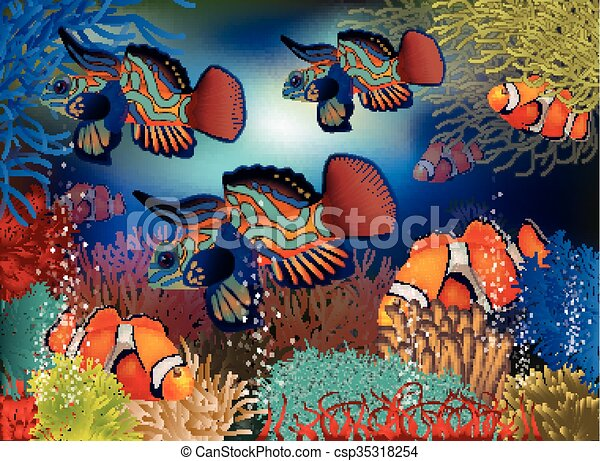 Underwater Background Tropical Fish