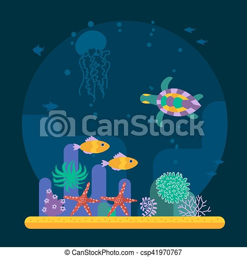 Underwater Background With Tropical Fish And Various Plant