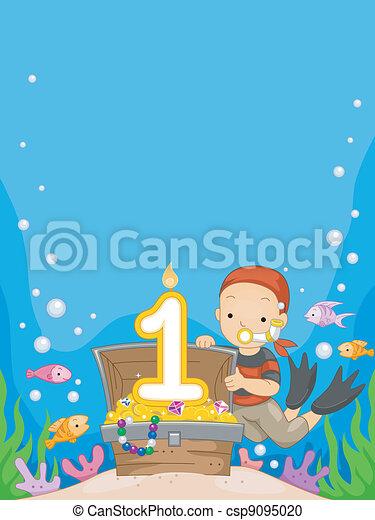 Underwater Birthday Illustration Of A Boy Celebrating His