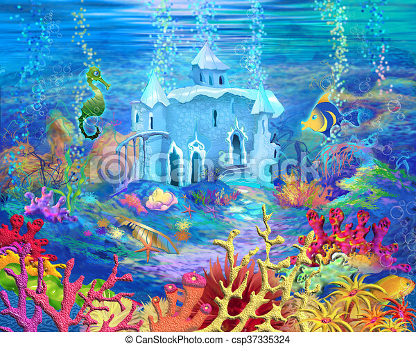 Underwater castle. Digital painting, illustration of a ...