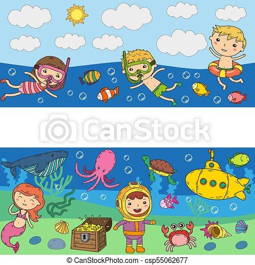 underwater kids waterpark sea and ocean adventure vectors rh canstockphoto com Ocean Animals Clip Art Ocean at Might