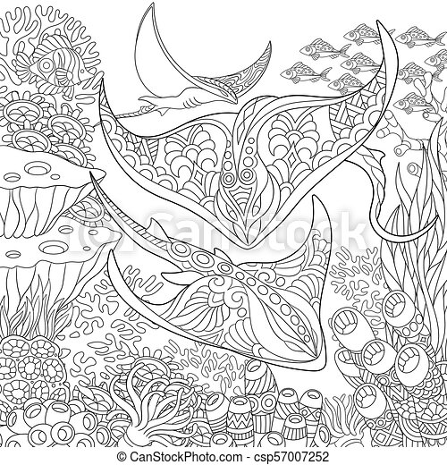 Top 10 Free Printable Stingray Coloring Pages Online | Coloring ... | 470x450