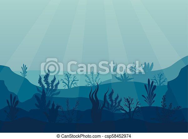 Underwater ocean scene. Deep blue water, coral reef and underwater plants. Marine sea bottom silhouette with seaweed, algae and coral. Vector illustration background. - csp58452974