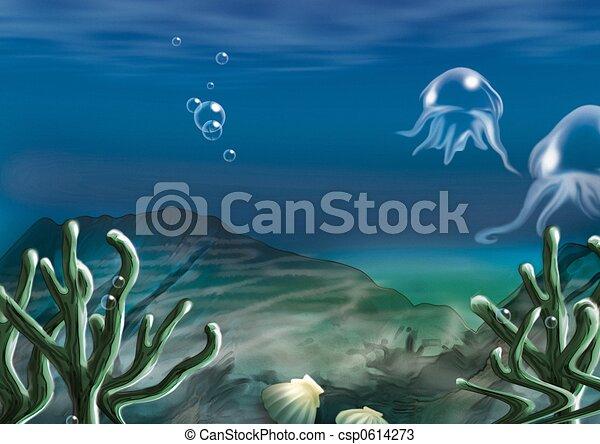 Underwater scene highly detailed cartoon background 59 underwater scene csp0614273 voltagebd Gallery