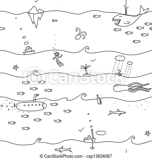 Underwater seamless lines pattern. Sea landscape black-and ...