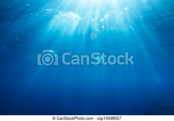 Underwater shot with sunrays and fishes in deep tropical sea - csp15098557