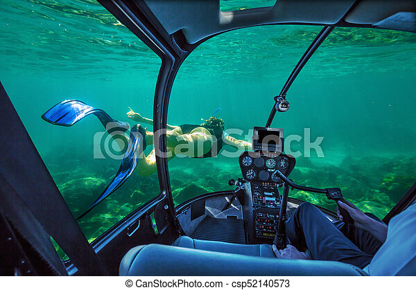Underwater submarine woman