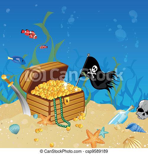 Underwater treasure chest - csp9589189