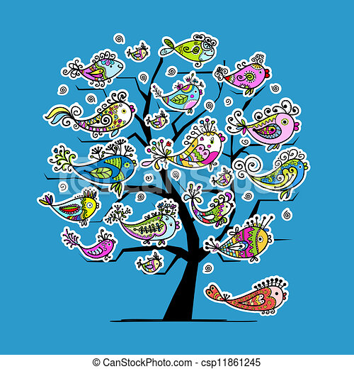 Underwater tree with funny fishes for your design - csp11861245