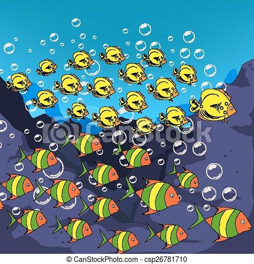 Underwater world, cartoon - csp26781710