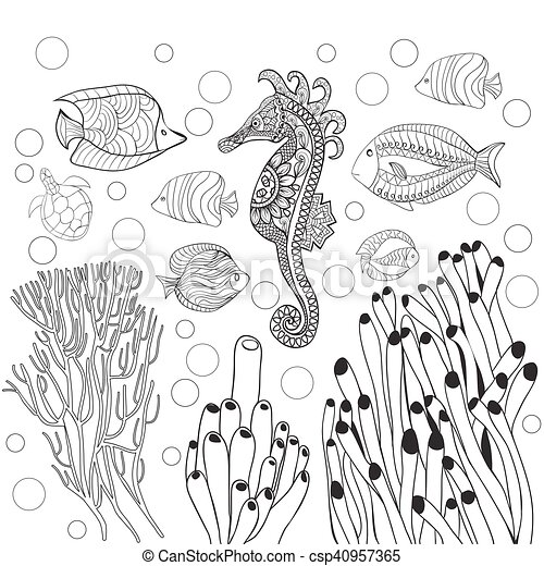 vector coloring page with underwater world sea life fishes sea Bugis Junction Singapore vector coloring page with underwater world sea life fishes sea horse outline vector illustration coloring book for adult coloring book