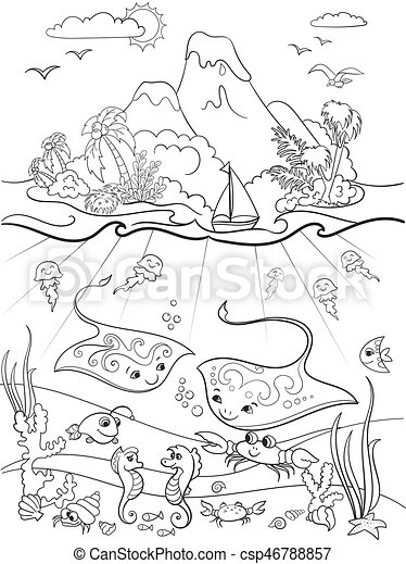 Underwater World With Fish Plants Island And Caravel Coloring For