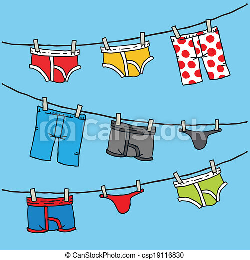Underwear clothesline. Cartoon of men's underwear hanging ...