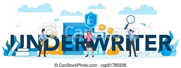 underwriter, empresa / negocio, financiero, tipográfico, encabezamiento, concept., seguro - csp81785938