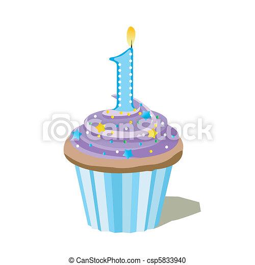 une, nombre, petit gâteau - csp5833940