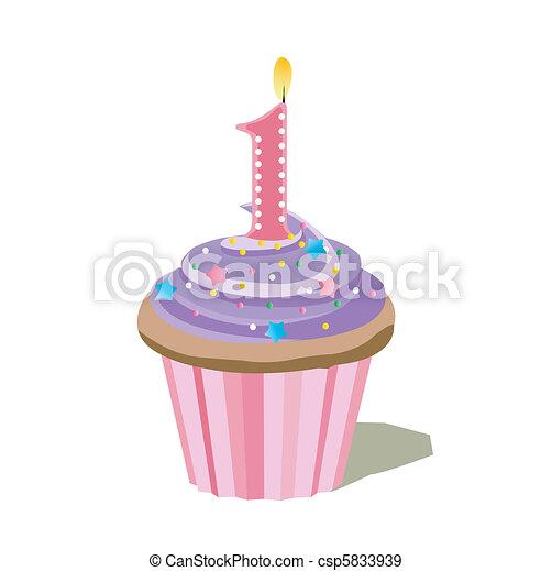 une, nombre, petit gâteau - csp5833939