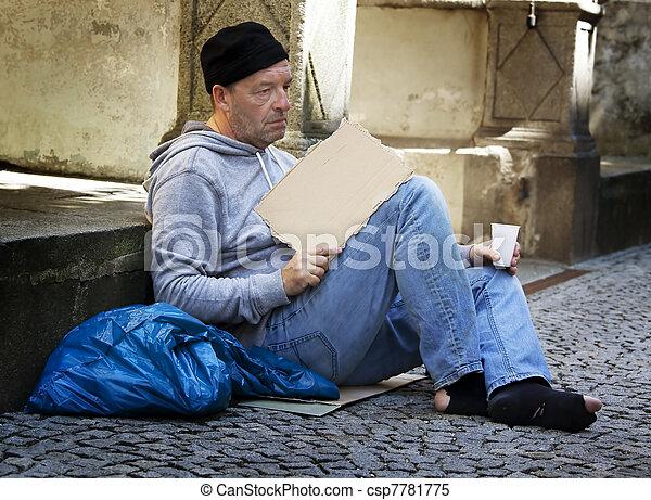 unemployed homeless beggar is - csp7781775