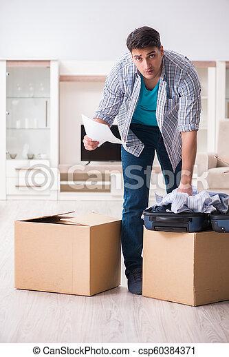 Unemployed man receiving foreclosure notice letter - csp60384371
