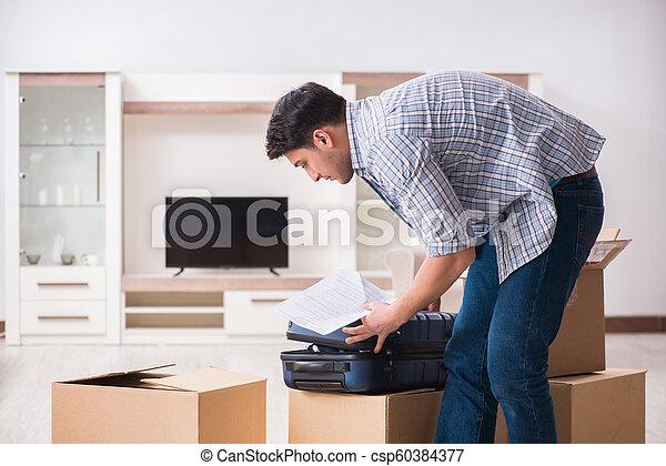 Unemployed man receiving foreclosure notice letter - csp60384377