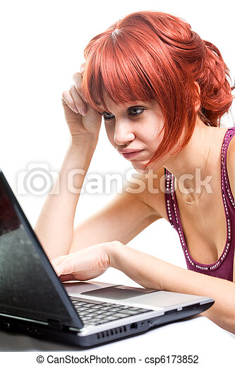 Unemployed woman searching online for job - csp6173852