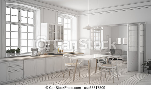 Unfinished Project Of Minimalist White Kitchen Sketch Abstract