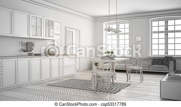 Unfinished Project Of Minimalist White Kitchen Sketch Abstract Interior Design