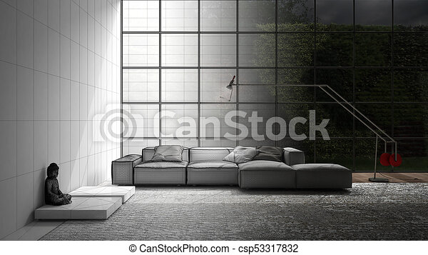 Unfinished Project Of Modern Living With Sofa Carpet And Big Window Sketch Abstract Interior Design