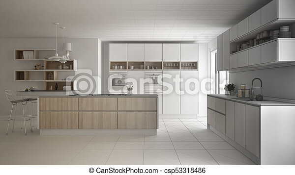 Unfinished Project Of Modern Scandinavian Kitchen Sketch Abstract