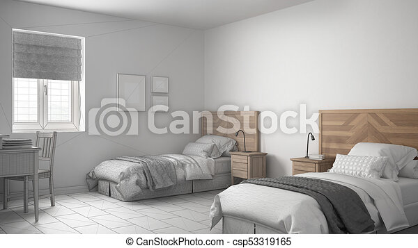 Unfinished Project Of Scandinavian Vintage Bedroom With Two Beds Sketch Abstract Interior Design