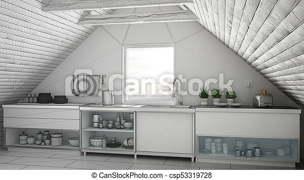 Unfinished project of scandinavian industrial kitchen loft mezzanine sketch abstract interior design - csp53319728 & Unfinished project of scandinavian industrial kitchen loft ...