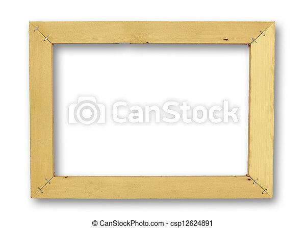 Unfinished wood frame .