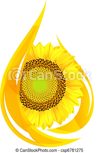 unflower oil. Stylized drop of oil, and sunflower. - csp6781275