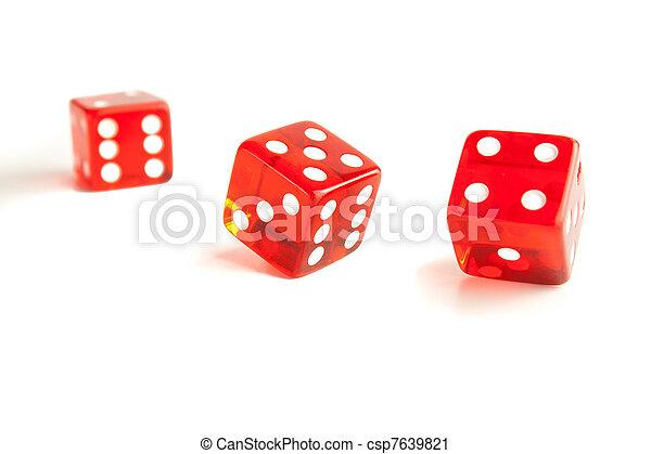 unfocused, afsluiten, rood, een, op, dobbelsteen, twee - csp7639821