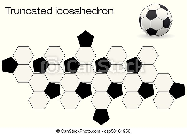 Unfolded Soccer Ball Truncated Icosahedron Truncated Icosahedron Soccer Ball Template For Making A 3d Object Out Of The Net