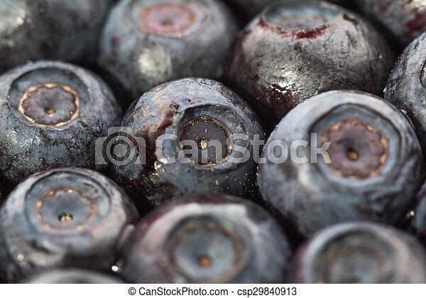 Unfrozen blueberries. Macro. Closeup. Shallow depth of view. - csp29840913
