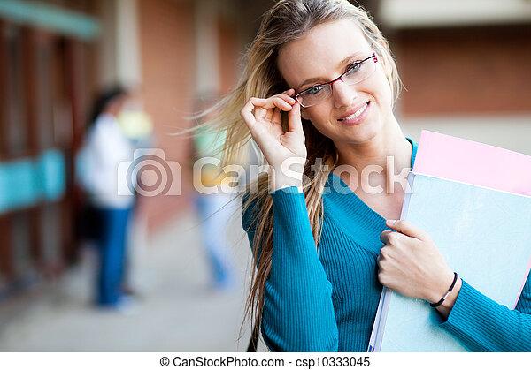 ung, universitet, attraktiv, student, kvinnlig - csp10333045