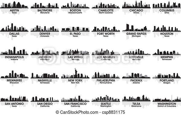Unglaubliches Set von US-Stadt Skyline. 30 Städte. - csp8831175