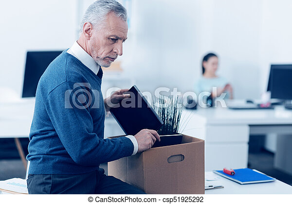 Unhappy adult employee leaving his work i spent half of my unhappy adult employee leaving his work stock photo sciox Image collections