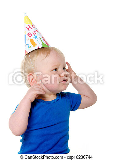 Unhappy Birthday Boy Cute 18 Month Old Baby With Blond Hair And