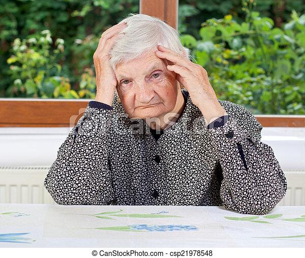 Unhappy elderly woman - csp21978548