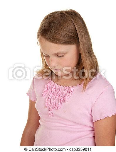unhappy girl on white - csp3359811