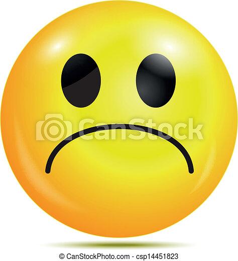 Unhappy glossy smiley icon - csp14451823